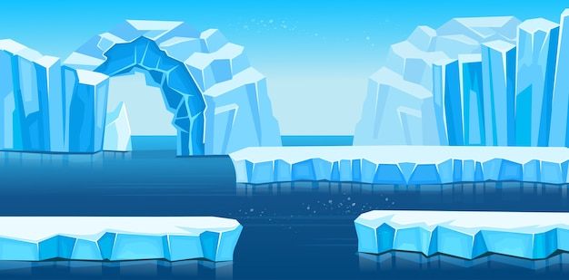 Arktyczny krajobraz z górami lodowymi i morzem lub oceanem. panorama antarktydy.