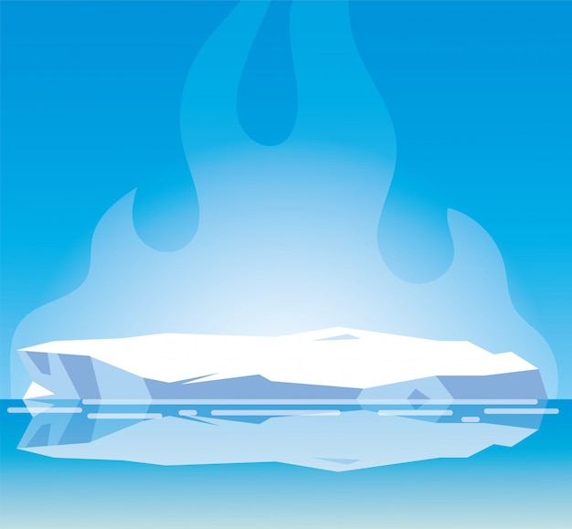 Arktyczny krajobraz z niebieskim niebem i górą lodowa, biegun północny
