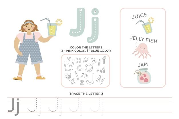 Arkusz alfabetyczny z literą j