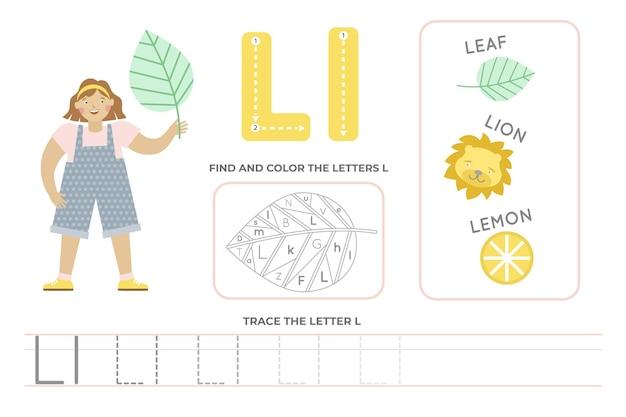 Arkusz alfabetyczny z literą l