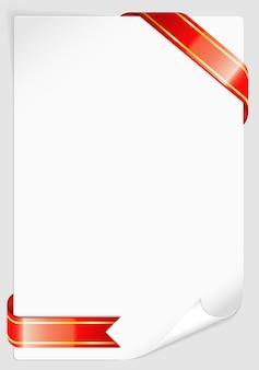 Arkusz białego papieru ze wstążką