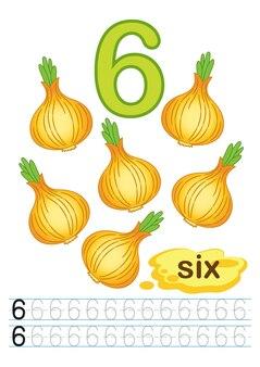 Arkusz cebuli ze świeżych warzyw dla przedszkola i przedszkola