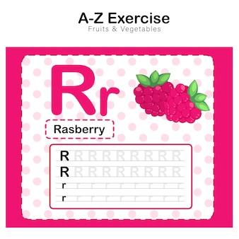 Arkusz ćwiczeń dla dzieci, ćwiczenie alfabet r. z ilustracją słownictwa kreskówkowego, rasberry