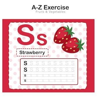 Arkusz ćwiczeń dla dzieci, ćwiczenie alfabet s. z ilustracją słownictwa kreskówkowego, truskawka