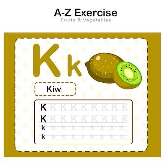 Arkusz ćwiczeń dla dzieci, ćwiczenie alfabetu k. z ilustracją słownictwa kreskówkowego, kiwi