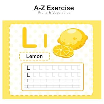Arkusz ćwiczeń dla dzieci, ćwiczenie alfabetu l. z ilustracją słownictwa kreskówkowego, cytrynowy