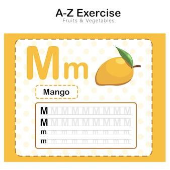 Arkusz ćwiczeń dla dzieci, ćwiczenie alfabetu m. z ilustracją słownictwa kreskówkowego, mango