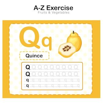 Arkusz ćwiczeń dla dzieci, ćwiczenie alfabetu q. z ilustracją słownictwa kreskówkowego, pigwa