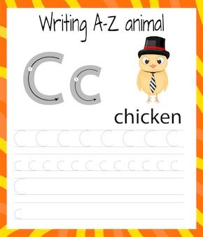 Arkusz ćwiczeń pisma ręcznego. podstawowe pisanie. gra edukacyjna dla dzieci. nauka liter alfabetu angielskiego dla dzieci. pisanie litery c