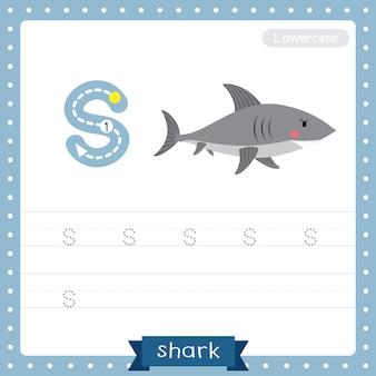 Arkusz ćwiczeń śledzenia małych liter na literę s. widok z boku rekina