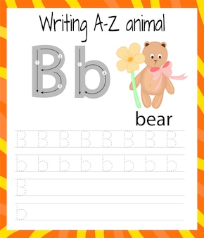 Arkusz ćwiczeń z pisma ręcznego. pisanie podstawowe. gra edukacyjna dla dzieci. nauka liter alfabetu angielskiego dla dzieci. pisanie listu b.
