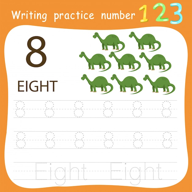 Arkusz ćwiczenie pisania numer osiem