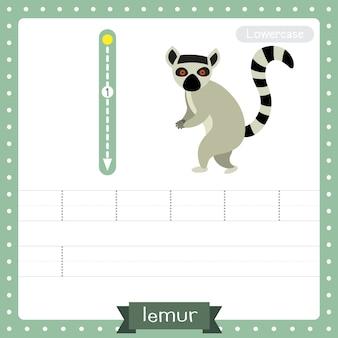 Arkusz ćwiczeniowy śledzenia małych liter litery l. stojący lemur