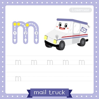 Arkusz ćwiczeniowy śledzenia małych liter na literę m. ciężarówka pocztowa