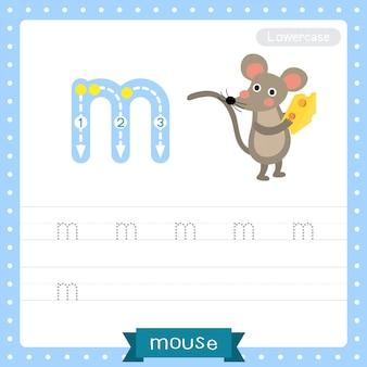 Arkusz ćwiczeniowy śledzenia małych liter na literę m. mysz trzymająca ser