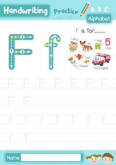 Arkusz ćwiczeniowy śledzenia wielkich i małych liter na literę f.