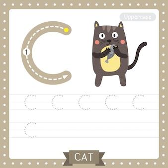 Arkusz ćwiczeniowy śledzenia wielkich liter na literę c. stojący kot trzyma ryby