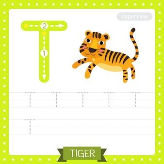 Arkusz ćwiczeniowy śledzenia wielkich liter na literę t. skaczący tygrys