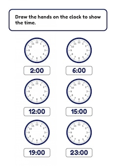 Arkusz dla dzieci w wieku przedszkolnym i szkolnym. narysuj ręce na zegarze z zegarem pokazującym cały czas.