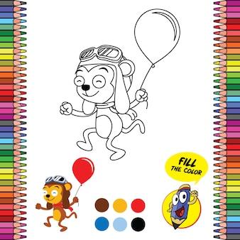 Arkusz do kolorowania do druku, przybory szkolne gry mózgu małpy trzymającej balon