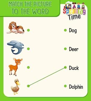 Arkusz dopasowywania słowa do obrazu dla dzieci