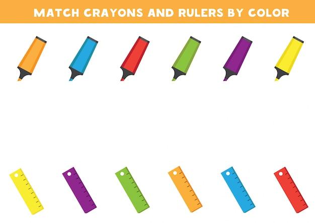 Arkusz edukacyjny dla dzieci w wieku przedszkolnym. dopasuj kredki i linijkę według kolorów.