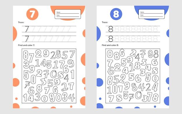 Arkusz edukacyjny dla dzieci w wieku przedszkolnym i szkolnym. gra liczbowa dla dzieci. śledź, znajdź i pokoloruj. siedem osiem.