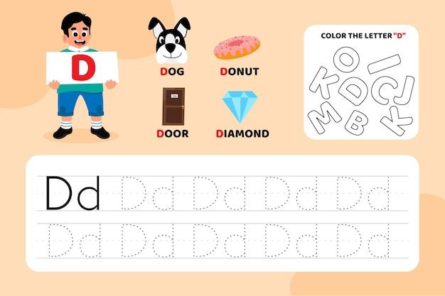 Arkusz edukacyjny litera d z ilustracjami