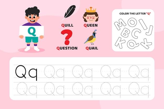 Arkusz edukacyjny litera q z ilustracjami