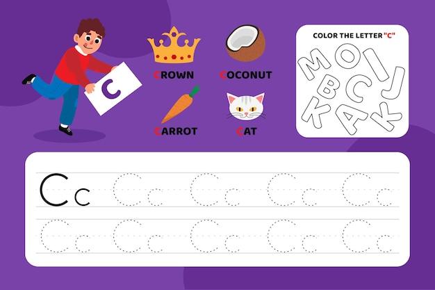 Arkusz edukacyjny z literą c z ilustracjami