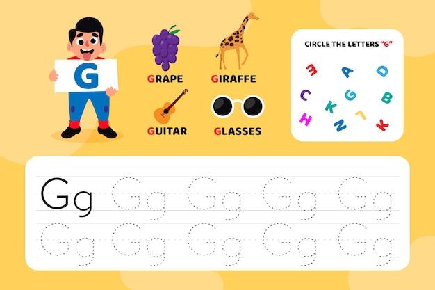 Arkusz edukacyjny z literą g z ilustracjami