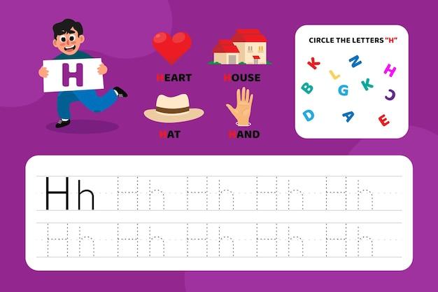 Arkusz edukacyjny z literą h z ilustracjami
