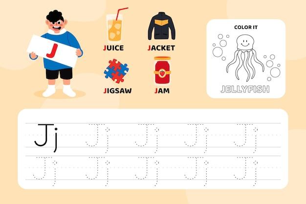 Arkusz edukacyjny z literą j z ilustracjami