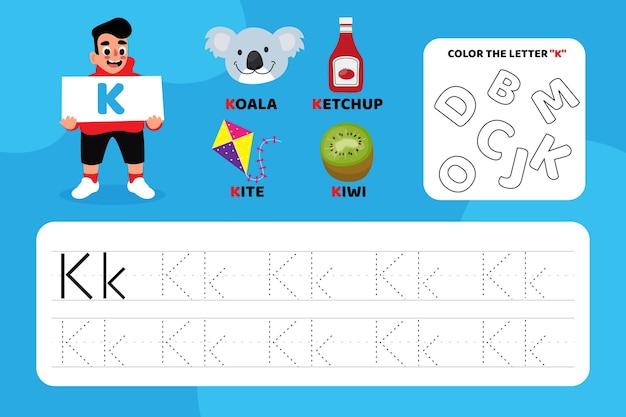Arkusz edukacyjny z literą k z ilustracjami