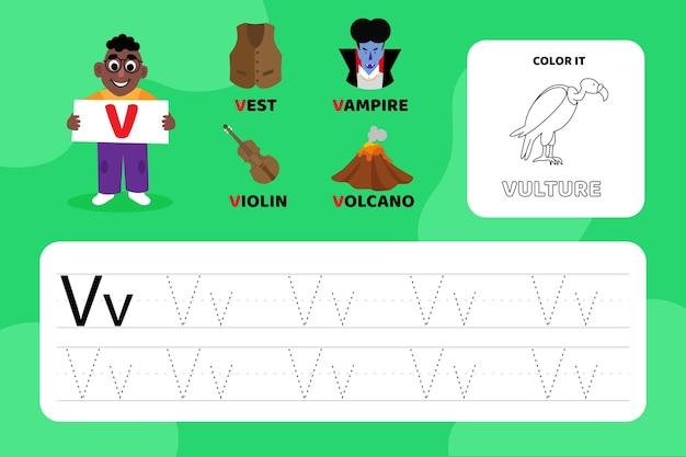 Arkusz edukacyjny z literą v z ilustracjami