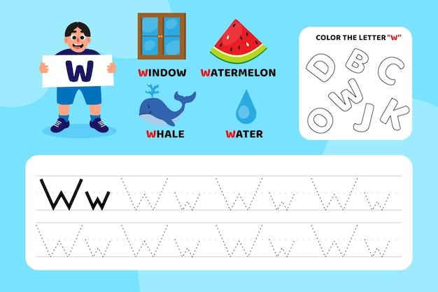 Arkusz edukacyjny z literą w z ilustracjami