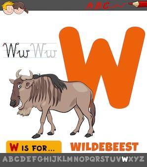 Arkusz edukacyjny z literą w ze zwierzęciem gnu