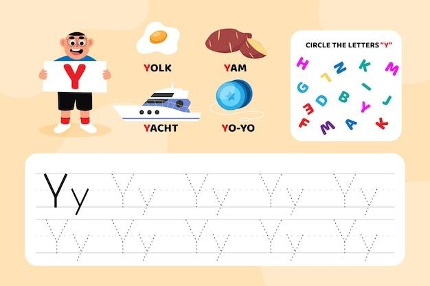 Arkusz edukacyjny z literą y z ilustracjami