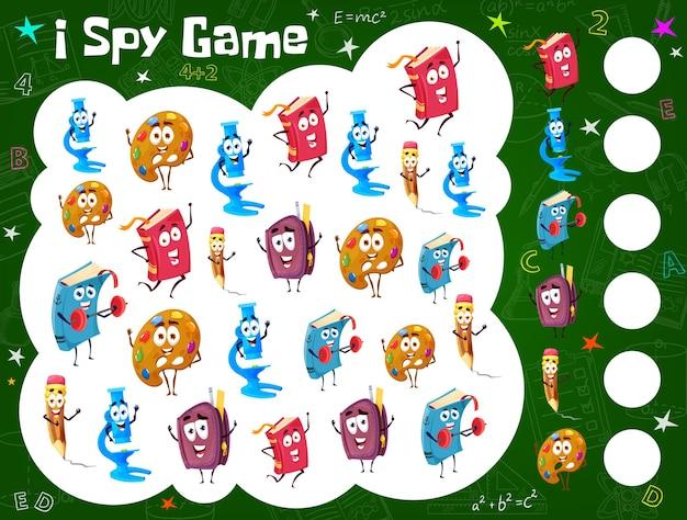 Arkusz gry szpiegowskiej dla dzieci z książkami szkolnymi z kreskówek