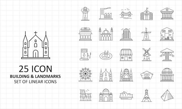 Arkusz ikon budynków i zabytków pixel perfect