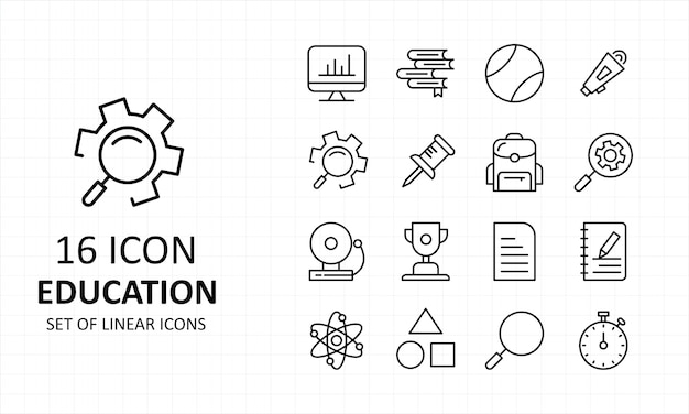 Arkusz ikon edukacji pixel perfect icons