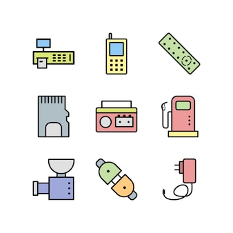 Arkusz ikony urządzeń elektronicznych na białym tle