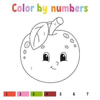 Arkusz jabłek w kolorze według liczb
