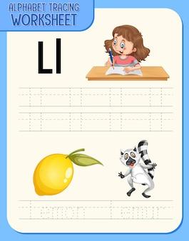 Arkusz kalkulacyjny alfabetu z literą i słownictwem