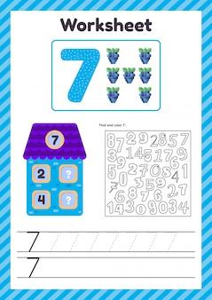 Arkusz kalkulacyjny dla dzieci. dom. liczba obligacji. linia śledzenia studia matematyki dla dzieci w wieku przedszkolnym, przedszkolnym. siedem 7