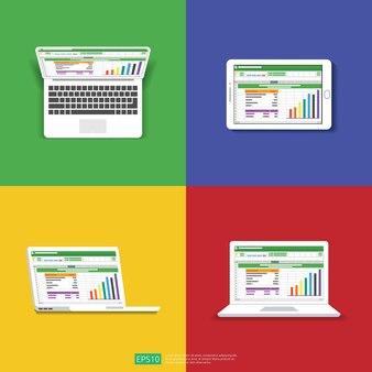 Arkusz kalkulacyjny na płaskim ekranie komputera. koncepcja raportu rachunkowości finansowej.