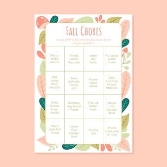 Arkusz karty bingo z jesiennymi obowiązkami