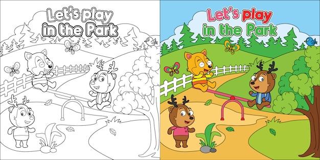 Arkusz kolorowanki do wydruku, kreskówka zwierząt bawiące się w parku