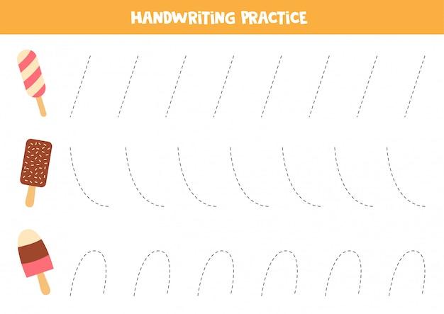 Arkusz kreślarski dla dzieci z lodami. ćwiczenia pisma ręcznego dla dzieci.
