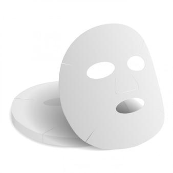 Arkusz maski na twarz. makieta 3d produktu kolagen urody